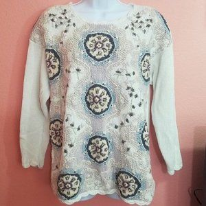 Jennifer Reed Knitted by Hand Floral Sweater Sz M